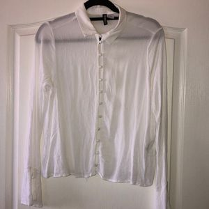 H&M White Button Up with Bell Sleeve Blouse